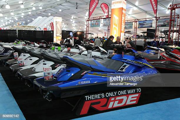 A general view of YAMAHA personal watercrafts at the Miami International Boat Show on February 11 2016 in Miami Florida