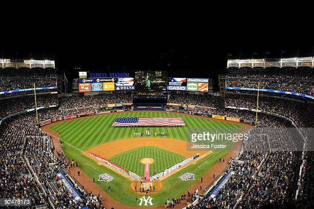 A general view of Yankee Stadium during pregame ceremonies at the start of game one of the 2009 World Series between the Philadelphia Phillies and...
