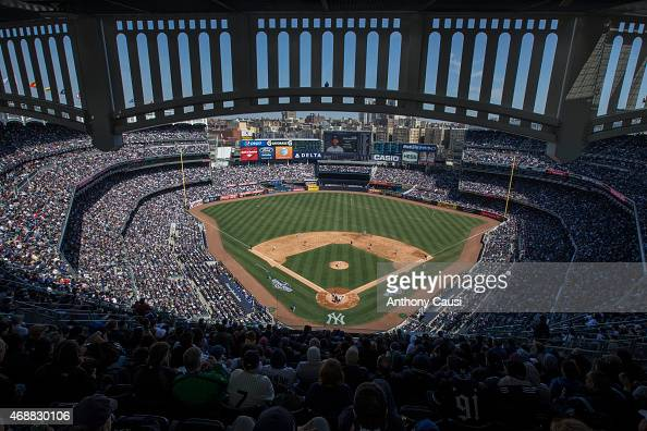 A general view of Yankee Stadium during the game between the Toronto Blue Jays and New York Yankees on Monday April 6 2015 in the Bronx borough of...