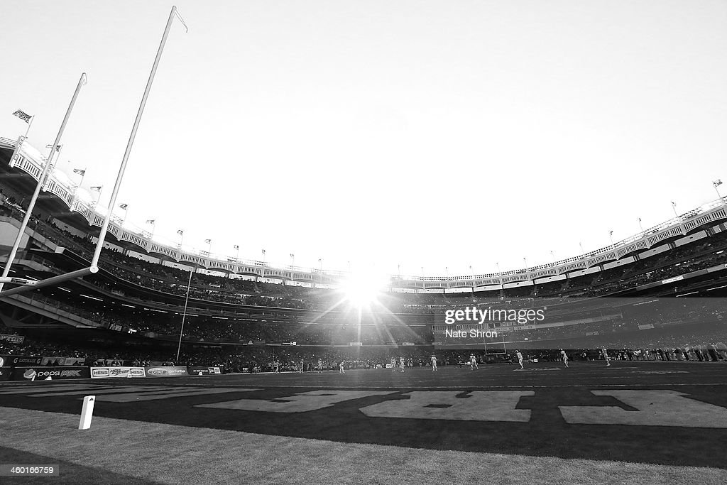 A general view of Yankee Stadium during the New Era Pinstripe Bowl game between the Notre Dame Fighting Irish and the Rutgers Scarlet Knights from the endzone at Yankee Stadium on December 28, 2013 in the Bronx Borough of New York City.