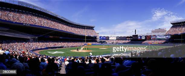 General view of Yankee Stadium from first base line lower level during the American League game between the New York Mets and the New York Yankees at...