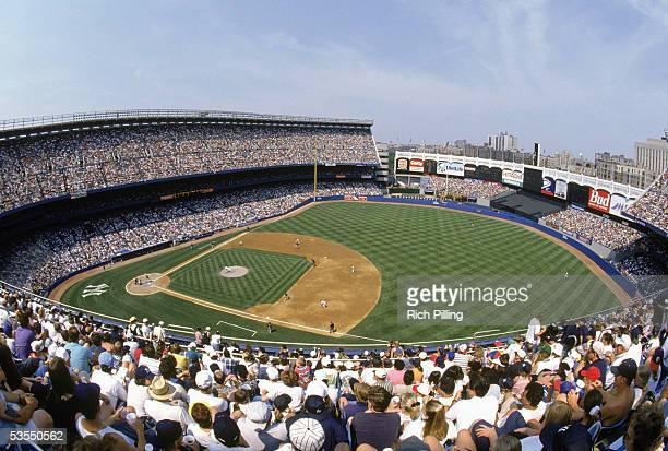 General View of Yankee Stadium from the upper deck circa 1996 in the Bronx New York