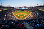 A general view of Yankee Stadium from the upper deck during the game between the New York Yankees and the New York Mets on April 24 2015 in the Bronx...