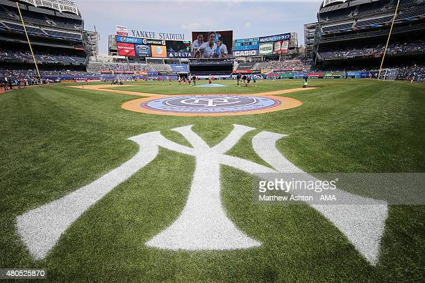 A general view of Yankee Stadium home of the New York Yankees baseball team turned in to a soccer field for the MLS match between Toronto FC and New...