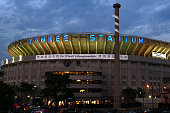 General view of Yankee Stadium is seen at sunset prior to the start of the last game at Yankee Stadium between the Baltimore Orioles and the New York...