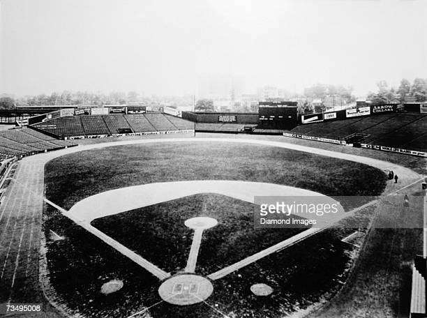 A general view of Yankee Stadium the new ballpark for the New York Yankees of the American League looking from the seats behind home plate towards...