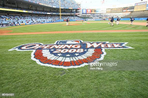 A general view of Yankee Stadium with the ground crew working on the field on Opening Day between the Toronto Blue Jays and the New York Yankees at...