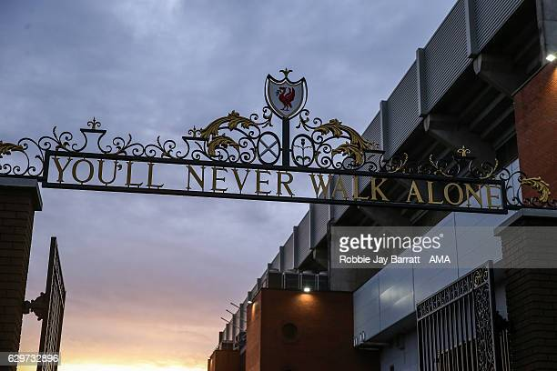 A general view of You'll Never Walk Alone signage outside Anfield the home stadium of Liverpool during the Premier League match between Liverpool and...