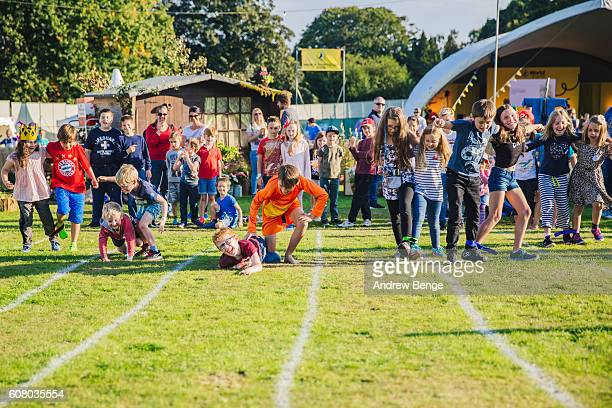General view of young festival goers competing in a three legged race during OnRoundhay Festival 2016 on September 17 2016 in Leeds England