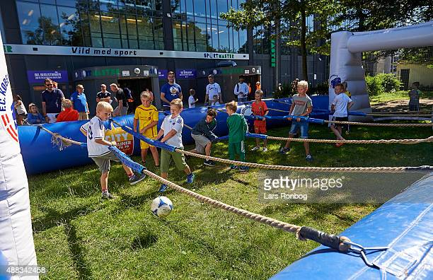 General view of youth fans of FC Copenhagen in front of the Familie tribunen prior to the Danish Alka Superliga match between FC Copenhagen and FC...