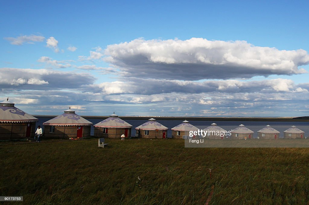 A general view of yurts in the Huhenuoer Grassland on August 27 2009 in Hulun Buir League of the Inner Mongolia Autonomous Region China Manzhouli is...