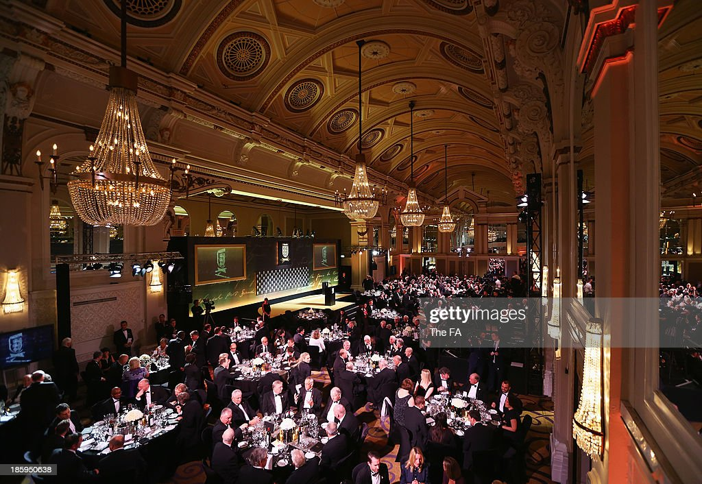 A general view og the Great Hall during the FA150 Gala Dinner commemorating the Football Association's 150th year at the Grand Connaught Rooms on October 26, 2013 in London, England.