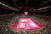 A general view on Day 11 of the London 2012 Olympic Games during the final for four artistic gymnastics medals at North Greenwich Arena on August 7...