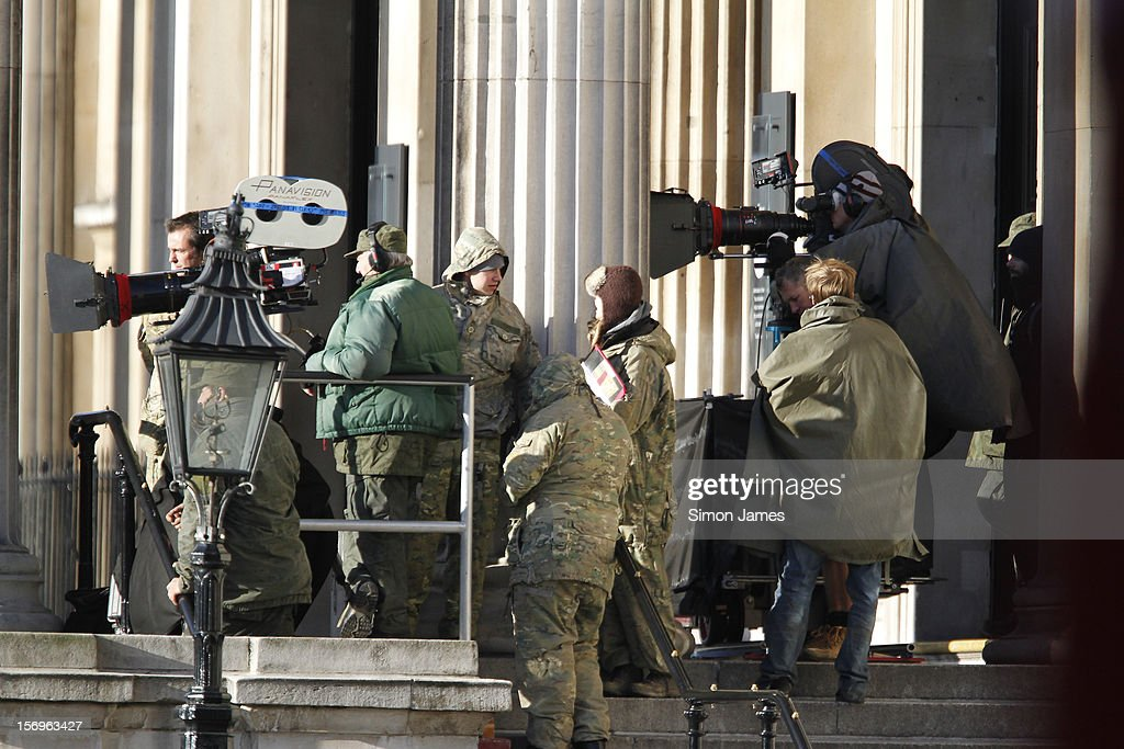 General view on set for the movie 'All You Need Is Kill' being filmed in Trafalgar Square on November 25, 2012 in London, England.