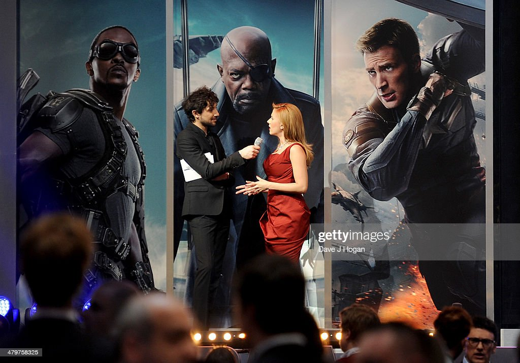 A general view on stage as host Alex Zane speaks with actress Scarlett Johansson at the 'Captain America: The Winter Soldier' UK film premiere at Westfield on March 20, 2014 in London, England.