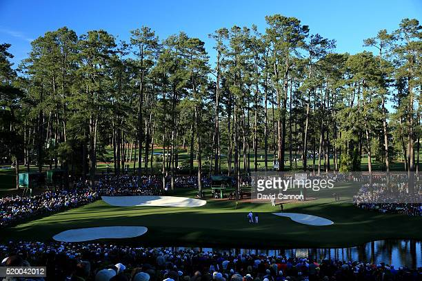 A general view on the 16th hole as Rory McIlroy of Northern Ireland and Jordan Spieth of the United States play during the third round of the 2016...