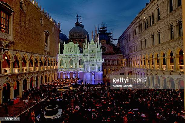 A general view on the Doge Palace courtyard ahead of La Fenice Theatre's production of 'Othello' on July 10 2013 in Venice Italy It is the first time...