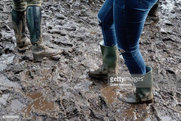General view on the festival area af the the rain during the Wacken Open Air festival on August 3 2017 in Wacken Germany Wacken is a village in...