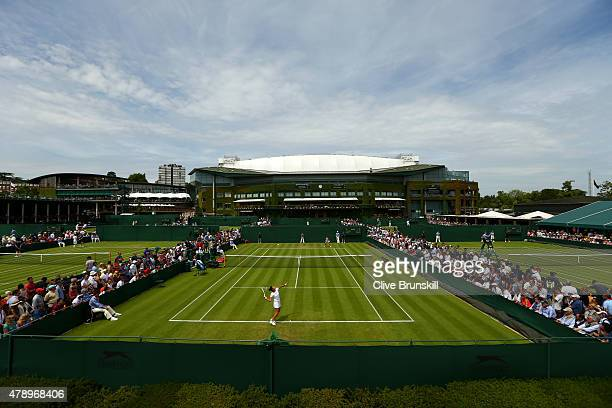 General view on the outside courts during day one of the Wimbledon Lawn Tennis Championships at the All England Lawn Tennis and Croquet Club on June...