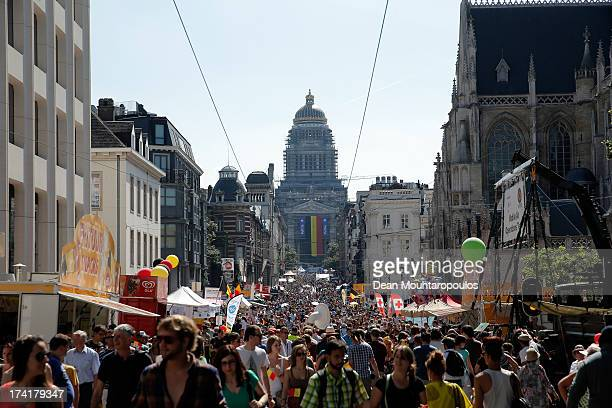 A general view on the streets of Brussels during the Abdication Of King Albert II Of Belgium Inauguration Of King Philippe on July 21 2013 in...