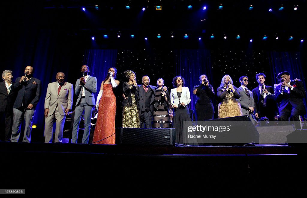 A general view onstage during the grand finale performance of 'We are the World' during the Thelonious Monk Institute International Jazz Vocals Competition 2015 at Dolby Theatre on November 15, 2015 in Hollywood, California.