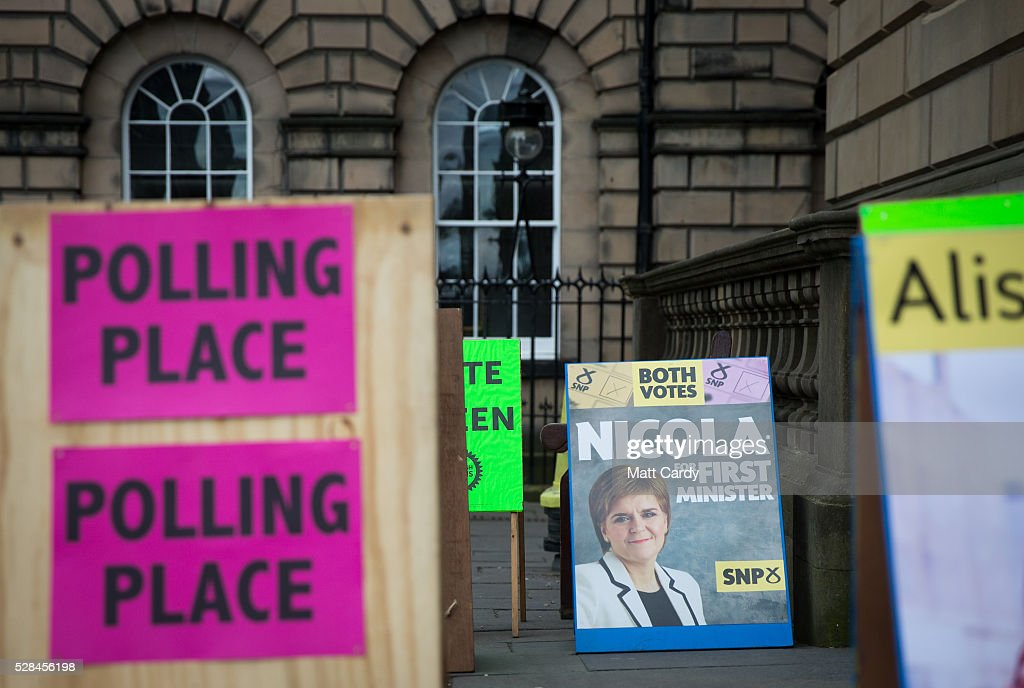 A general view outside a polling station in central Edinburgh on May 5, 2016 in Edinburgh, Scotland. Today,dubbed 'Super Thursday',sees the British public vote in countrywide elections to choose members for the Scottish Parliament, the Welsh Assembly, the Northern Ireland Assembly, Local Councils, a new London Mayor and Police and Crime Commissioners. There are around 45 million registered voters in the UK and polling stations open from 7am until 10pm.