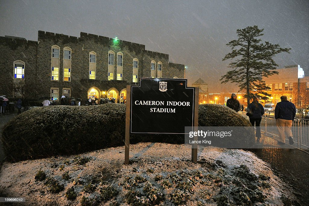 A general view outside Cameron Indoor Stadium as snow falls prior to a game between the Georgia Tech Yellow Jackets and the Duke Blue Devils on January 17, 2013 in Durham, North Carolina.