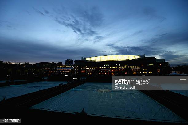 A general view outside Centre Court as play continues in the Gentlemens Singles Third Round match against Gael Monfils of France and Gilles Simon of...
