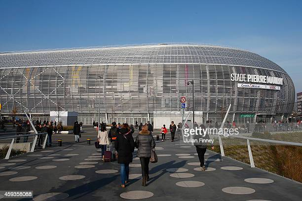 A general view outside during day one of the Davis Cup Tennis Final between France and Switzerland at the Stade Pierre Mauroy on November 21 2014 in...
