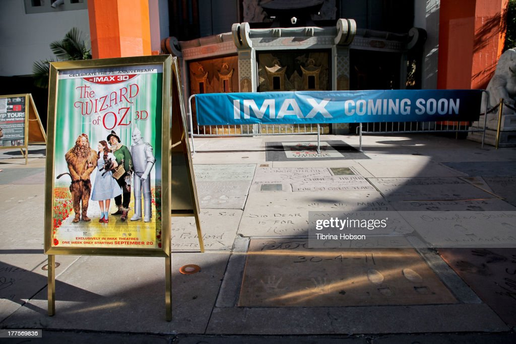 A general view outside during the raising of the world's largest IMAX screen, which will host the 3D release of 'The Wizard Of Oz' to celebrate the film's 75 anniversary at TCL Chinese Theatre on August 23, 2013 in Hollywood, California.