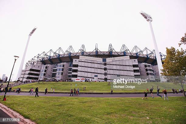 A general view outside is seen before the round one AFL match between the Richmond Tigers and the Carlton Blues at Melbourne Cricket Ground on March...