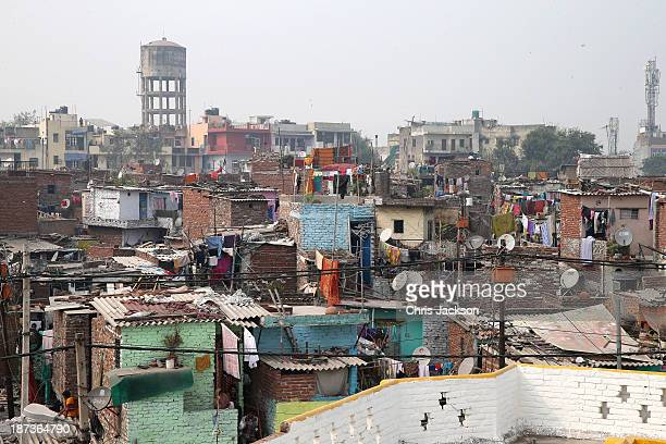 General view outside Katha Community School in the Govindpuri slum district during day 3 of an official visit to India on November 8 2013 in Delhi...