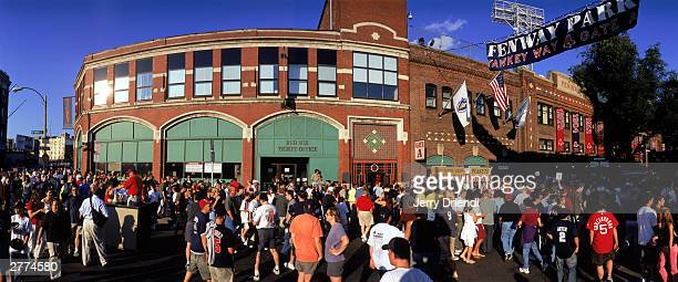 General view outside of Fenway Park as fans arrive for the American League game between the Boston Red Sox and the New York Yankees at Fenway Park on...