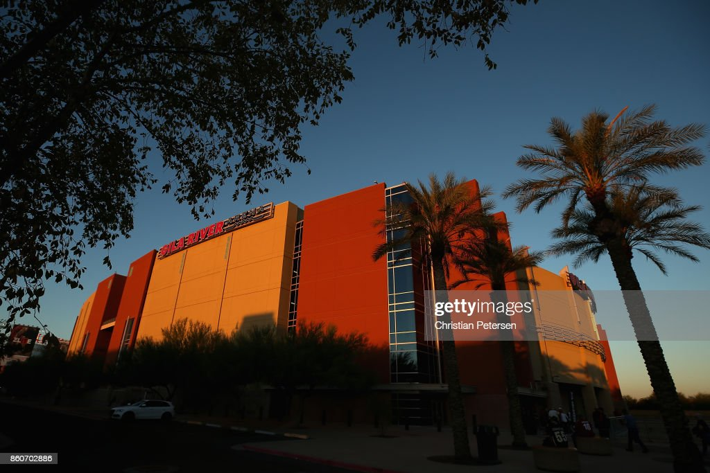 General view outside of Gila River Arena before the NHL game between the Arizona Coyotes and the Detroit Red Wings on October 12, 2017 in Glendale, Arizona.