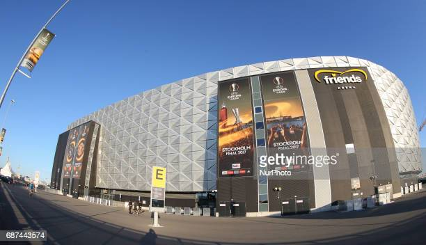 A general view outside of the stadium ahead of the UEFA Europa League Final between Ajax and Manchester United at Friends Arena on May 23 2017 in...