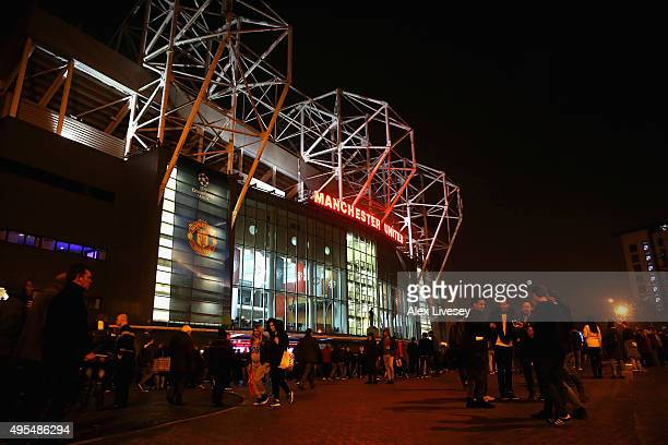 A general view outside Old Trafford is seen prior to the UEFA Champions League Group B match between Manchester United FC v PFC CSKA Moskva on...