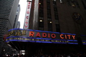 A general view outside Radio City Music Hall prior to the start of the first round of the 2014 NFL Draft on May 8 2014 in New York City