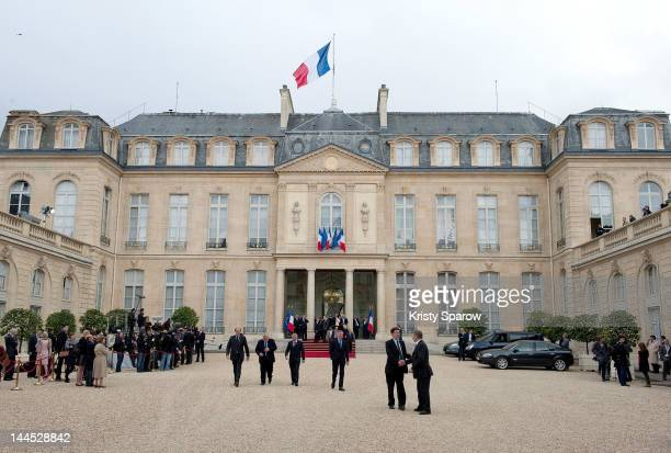A general view outside the Elysee presidential Palace on May 15 2012 in Paris France where France's presidentelect Francois Hollande was earlier...
