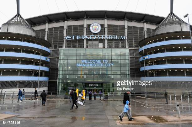 A general view outside the Ethihad stadium prior to the Premier League match between Manchester City and Liverpool at Etihad Stadium on September 9...