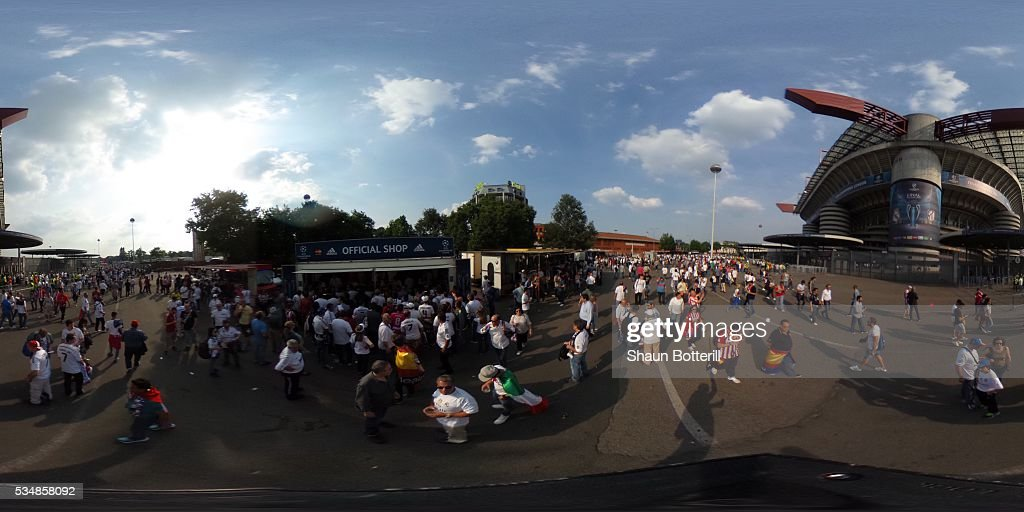 A general view outside the Giuseppe Meazza stadium prior to the the UEFA Champions League Final match between Real Madrid and Club Atletico de Madrid at Stadio Giuseppe Meazza on May 28, 2016 in Milan, Italy.