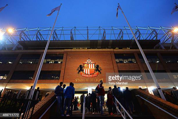 A general view outside the ground as fans arrive prior to the Barclays Premier League match between Sunderland and Chelsea at Stadium of Light on...