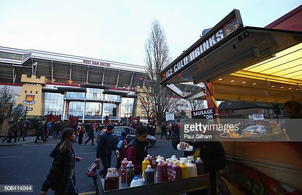 A general view outside the ground as fans grab a bite to eat prior to the Barclays Premier League match between West Ham United and Manchester City...