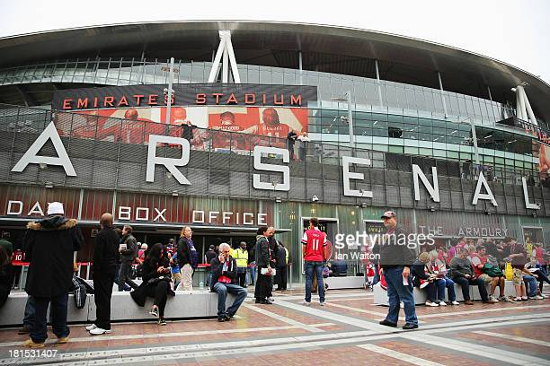 General view outside the ground before the Barclays Premier League match between Arsenal and Stoke City at Emirates Stadium on September 22 2013 in...