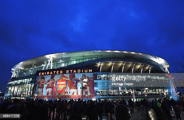 A general view outside the ground prior to the Barclays Premier League match between Arsenal and Manchester United at Emirates Stadium on November 22...