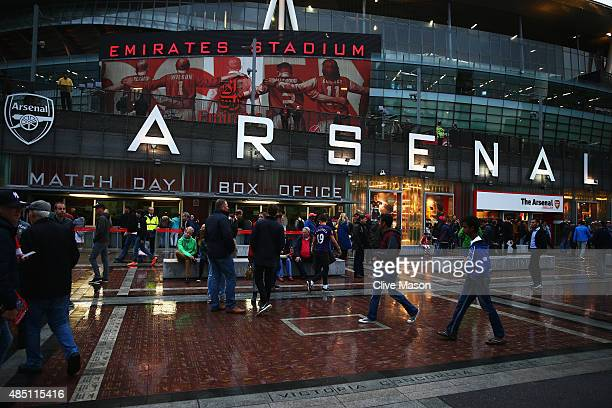 A general view outside the ground prior to the Barclays Premier League match between Arsenal and Liverpool at Emirates Stadium on August 24 2015 in...
