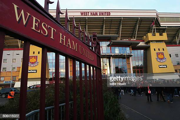 A general view outside the ground prior to the Barclays Premier League match between West Ham United and Manchester City at the Boleyn Ground on...