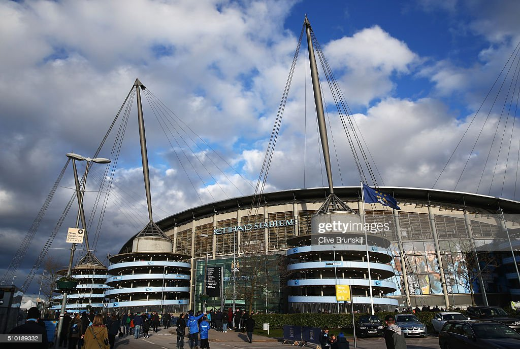A general view outside the ground prior to the Barclays Premier League match between Manchester City and Tottenham Hotspur at Etihad Stadium on February 14, 2016 in Manchester, England.