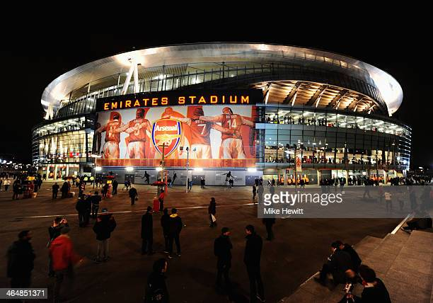 A general view outside the ground prior to the FA Cup with Budweiser Fourth round match between Arsenal and Coventry City at Emirates Stadium on...