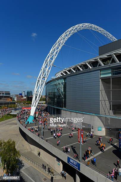 A general view outside the ground prior to the FA Cup with Budweiser semifinal match between Hull City and Sheffield United at Wembley Stadium on...