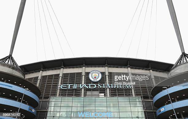 A general view outside the ground prior to the Premier League match between Manchester City and West Ham United at Etihad Stadium on August 28 2016...